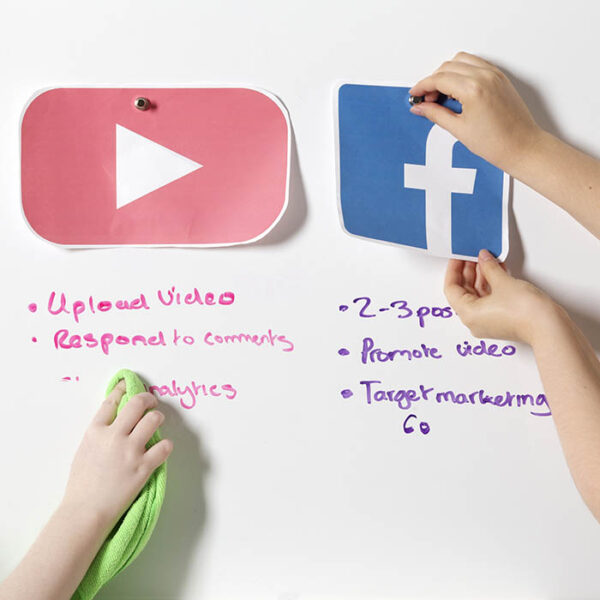 Ikone facebook in youtube na magnetni piši briši površini