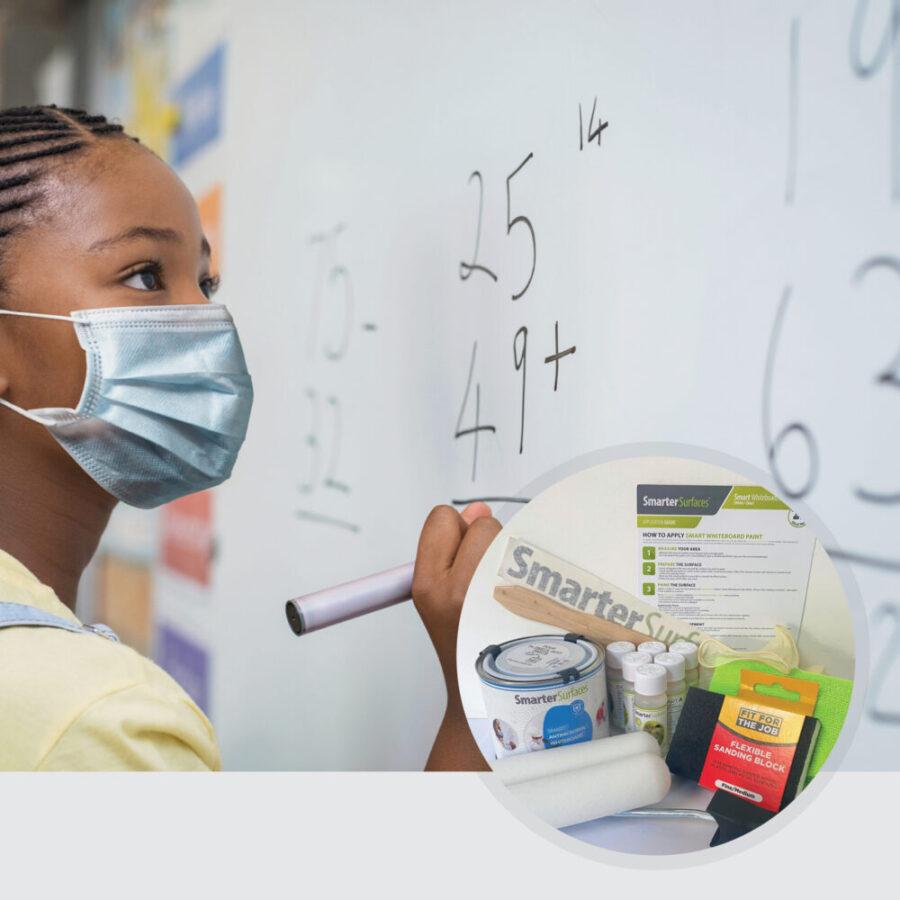Smart protimikrobna piši briši barva dekle z masko z vsebino kompleta