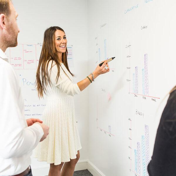 Smarter Surfaces smart piši briši barva v uporabi tekom prodajnega sestanka.