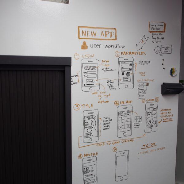 Piši briši barva stena okoli vrat z postopkom nove aplikacije.