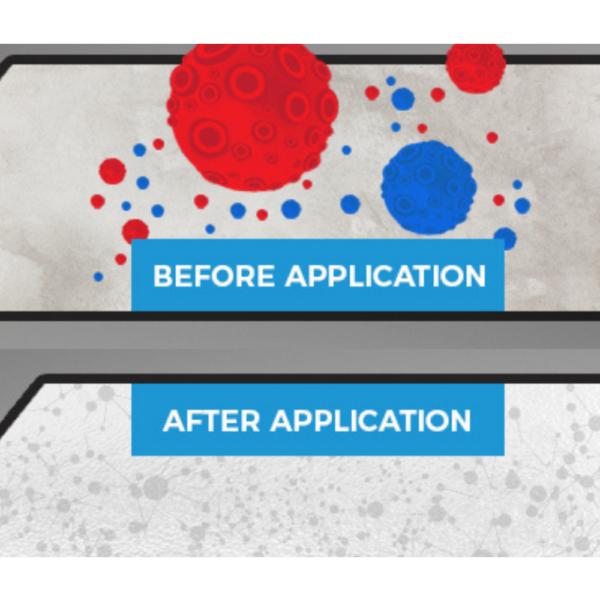Slika pred in po nanašanju Smart protimikrobne piši briši barve.