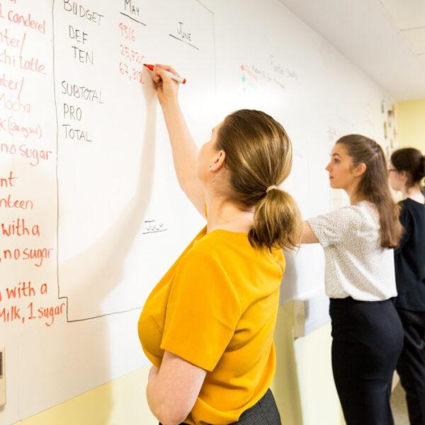 Skupina žensk piše na steni s Smart magnetno piši briši tapeto