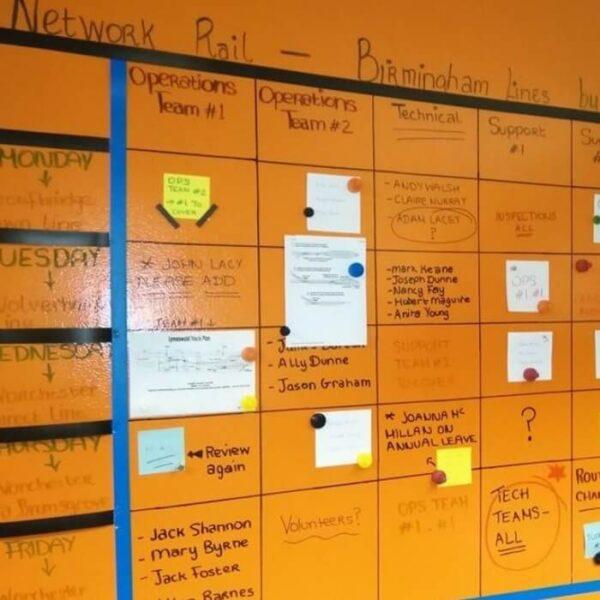 Tedenski koledar ustvarjen na Smart transparentni piši briši magnetni steni.