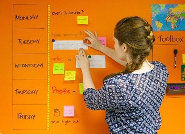 Uporaba piši briši magnetne barve transparentne za planiranje